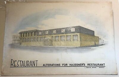 Haussner's Restaurant Baltimore Large Pencil And Pastel Drawing Ca 1960's