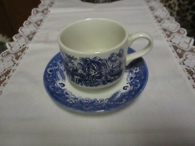 "Churchill Currier & Ives, ""Harvest ""  Flat Cup and Saucer Set, Blue"