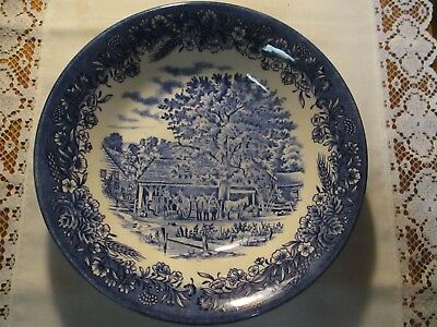 "Churchill Currier & Ives, ""Harvest ""  8"" Coupe Soup Bowl, Blue"