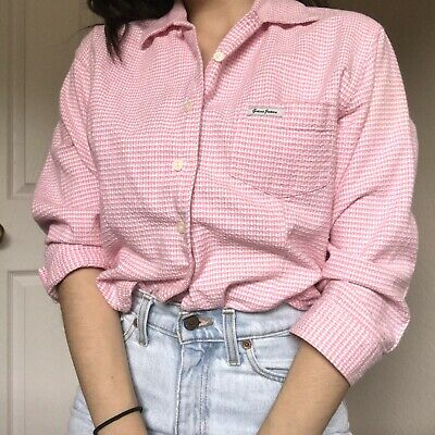 83fff2e5 Vintage Womens Guess Jeans Pink Houdstooth Cropped Shirt Button Size Small