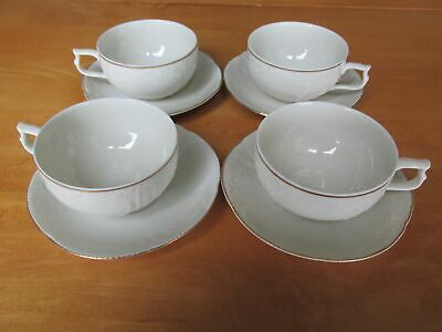 Set 4 Rosenthal Sanssouci Cups with Saucer Gold Band: Rosenthal Classic