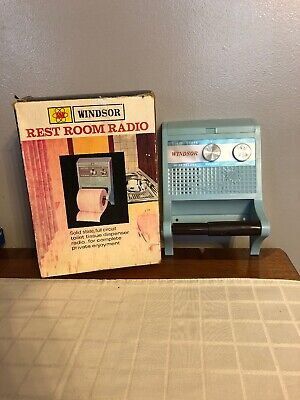 Vintage Baby Blue Solid State Toilet Paper Roll AM Radio w/ Box Working