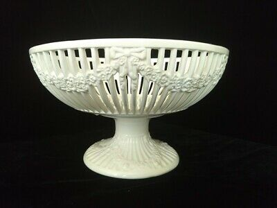 Large Max Roesler Reticulated Creamware Compote or Comport w/ Flowers and Bows