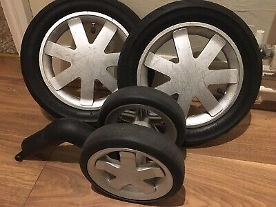Quinny Buzz Full Set Of Silver  Wheels, Two Rear, One Front