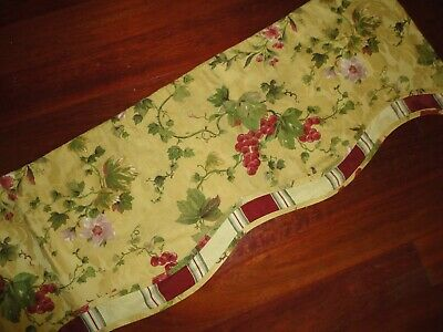Waverly Chianti Antique Gold Red Green Grapes Floral Stripes Valance 73 X 15
