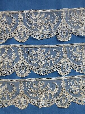 Antique Brussels point de gaze lace fragments x 3