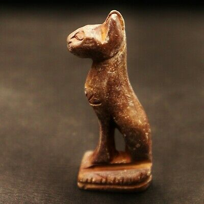 Rare Ancient Egyptian Stone Cat BASTET (Bes) Amulet Figurine, 600 - 300 BC