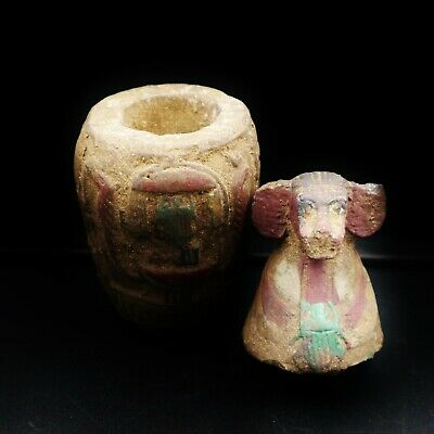 Antique Egyptian Ancient Hapi Son of Horus Canopic Jar, Organs Storage Statue