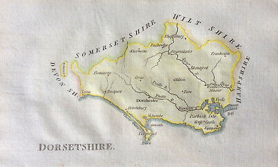 c1803 Original map of DORSETSHIRE by John Aikin, England & Wales Delineated, col