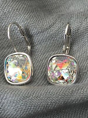 69f9dd72e New Swarovski Sheena Earrings Brilliant Shimmery Clear Ab Square Crystals