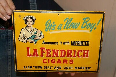 Vintage 1940's La Fendrich It's A Boy Cigars Tobacco Gas Oil Embossed Metal Sign