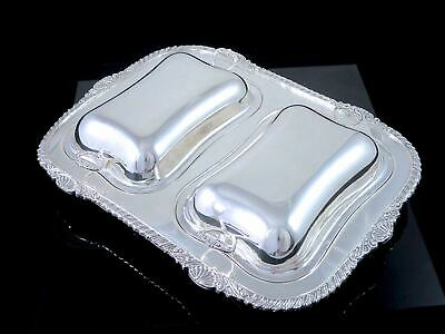 Gorgeous LIPMAN BROS CANADA Silverplate DOUBLE ENTREE SERVER Shell & Gadroon