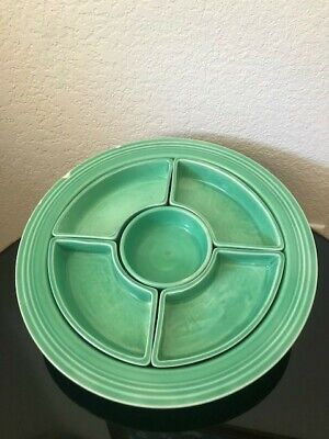 Vintage Fiestaware All Green RELISH TRAY w/ INSERTS
