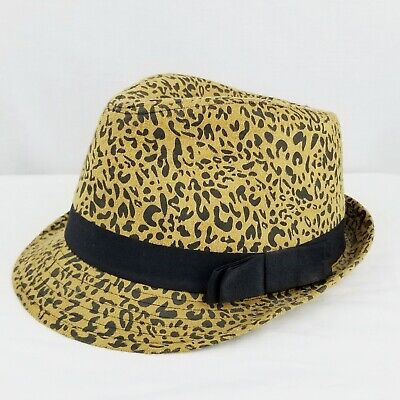 6e5d8272356 Charming Charlie Womens Leopard Print Fedora Hat Brown Black Animal Cheetah
