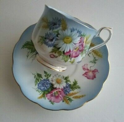 Royal Albert Vintage 1960's Pale Blue Daisies and Wild Roses Teacup & Saucer