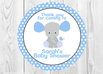 35 Personalised Blue Elephant Baby Shower Stickers Thank You Seals