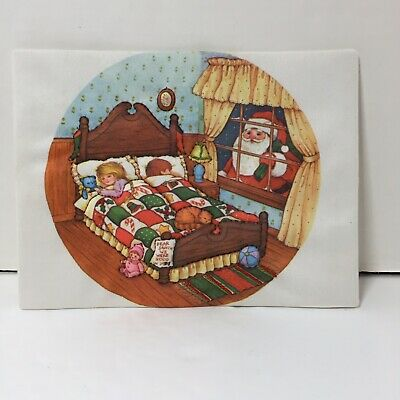 "Santa Peeking Creative Circle Finished Christmas Stich & Stuff 5"" x 7"""