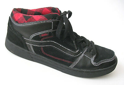 11a471b6db VANS Black Red Suede Mid Top Checkerboard Skate Shoes VN-ONJ6530 Mens 10.5