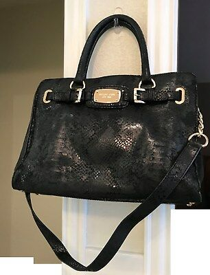 772262b1c0ac Michael Kors Hamilton EW Large Black Python Snake Leather Satchel Tote NWT   358