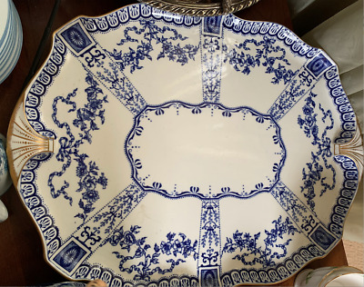 """1900S Royal Crown Derby Blue & Wht 3145 18"""" Tray"""