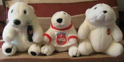 """Vintage Coca Cola 3 Different Polar White Bears Two 7 1/2"""" Tall/one 6 1/2"""" Tall"""