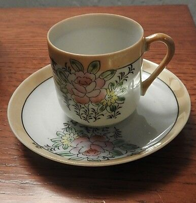 AIYO CHINA Occupied Japan Floral Demitasse Cup & Saucer Set Duo MINT