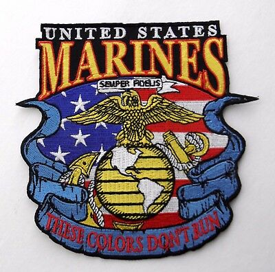 Usmc Us Marine Corps Marines Colors Don't Run Embroidered Patch 5 Inches