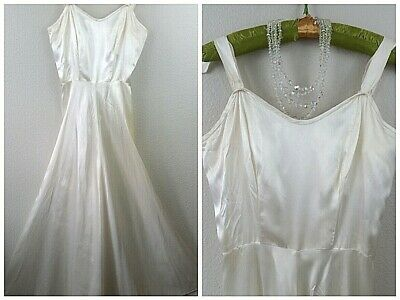 Vtg 40s Art Deco IVORY Satin Gown Evening Wedding Hollywood GLAM Maxi Dress S