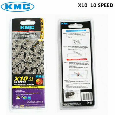 KMC X10.93 Alloy Steel Bicycle Chain 1/2' X11/128' 116 Links Sliver Gray