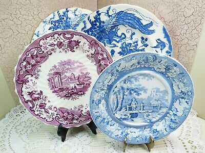 Antique 4 Transferware Pearlware Plates Mulberry SPODE / ROYAL CROWN DERBY Aves