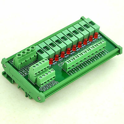 DIN Rail Mount 10 Position Power Distribution Fuse Module Board, For AC230V
