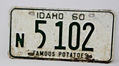 1960 IDAHO License Plate Collectible Antique Vintage Famous Potatoes N 5-102