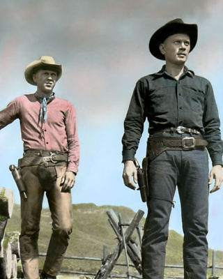 "YUL BRYNNER & STEVE McQUEEN MAGNIFICENT SEVEN 1960 8X10"" HAND COLOR TINTED PHOTO"