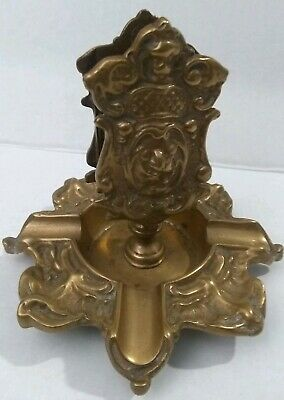 Antique Brass/Bronze Cigar Ashtray & Match Holder BERNARD & FRANK NY 1896