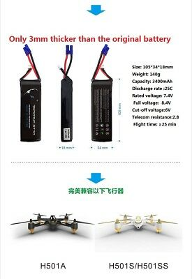 High performance Upgraded LiPo battery 7.4V 3400mAh for Hubsan H501A H501S 30min
