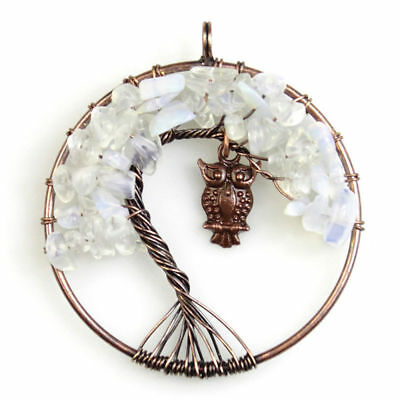 Opal Opalite Tree of Life Chakra Gemstone Owl Copper Pendant Fits Necklace