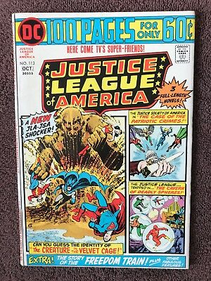Justice League Of America 113 FINE Superman Flash  1974 Squarebound JSA Batman