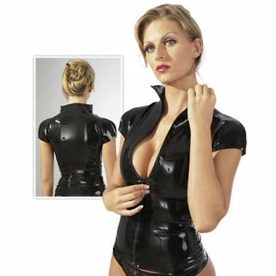 Latex Shirt Jacket The Late-X Latex Zip Shirt Short Sleeve Curves L $49.95