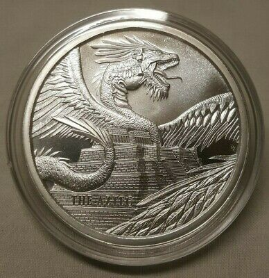 1oz Aztec Dragon .999 Fine Silver Round Coin 1st Coin in World of Dragon Series