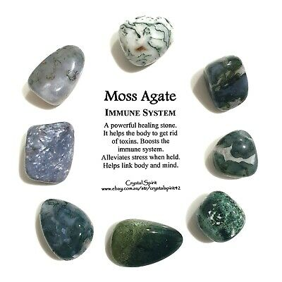 *1* MOSS AGATE Natural Tumbled Stone / Tumble Stone *TRUSTED SELLER*