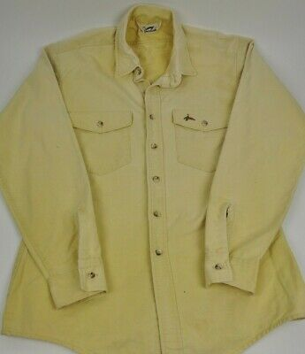 DUXBAK Hunting Fishing Shirt Large VTG Made In USA Duck Chamois Cotton Flannel