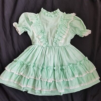 Vintage Sz 5 Girls Mint Green Flocked Bows Pinafore Dress Ruffles Party Dress