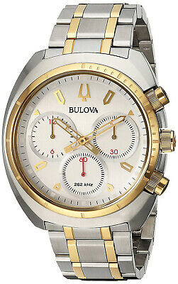 Bulova 98A157 Sports Curv Silver Dial Two Tone Stainless Chronograph Men's Watch