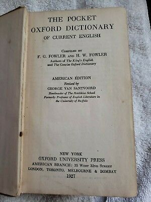 1927 Oxford Pocket Dictionary of Current English: Robert S Playfair copy.