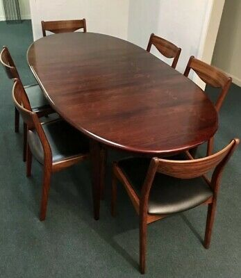 Danish Modern Rosewood Dining Table 6 Sl Møbler Chairs