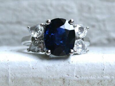 4.0 Tcw Natural Oval cut Blue Sapphire Diamond Engagement Ring 14K White Gold