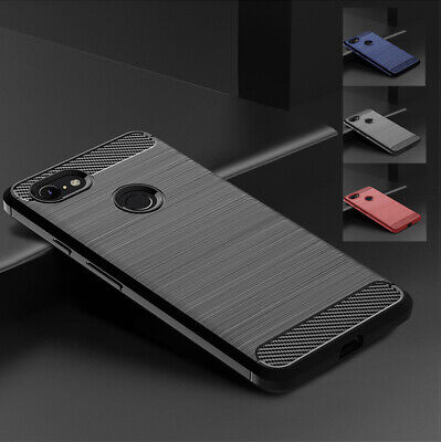 For Google Pixel 3/3 XL Pixel 2/2 XL Slim Fiber Carbon Silicone TPU Cover Case