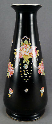 "Crown Devon Hand Colored Pink Rose & Ribbon Black Faience 12"" Vase C. 1913-1930"