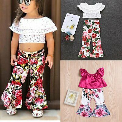 2PCS Toddler Kids Baby Girls Crop Tops+Floral Flared Pants Trousers Outfits Set
