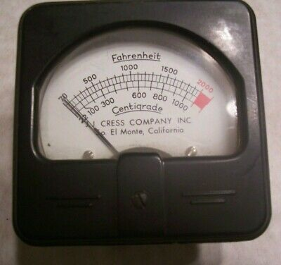Analog Temperature Gauge Thermocouple J.J. Cress Kiln Meter 70-2000 degrees